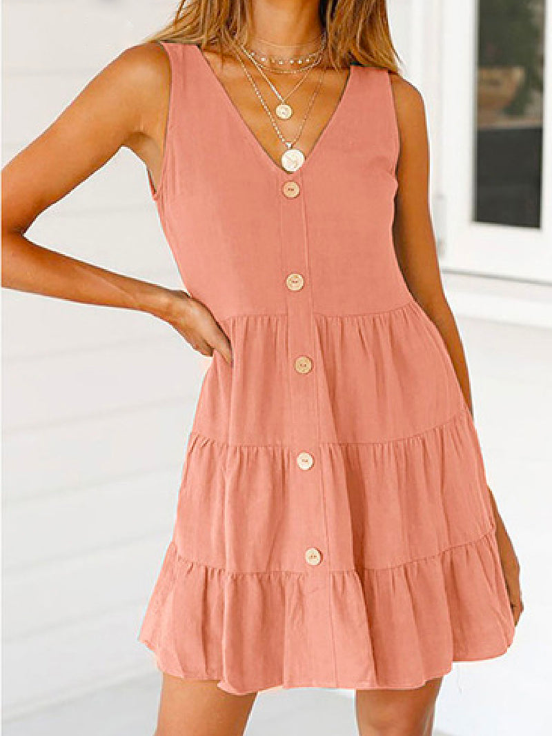 'Tay' Button Front Flared Dress (2 Colors)