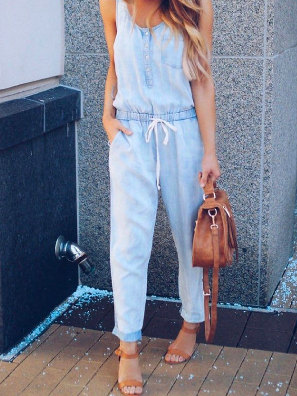 'Sonie' Chambray Sleeveless Drawstring Jumpsuit (2 Colors)