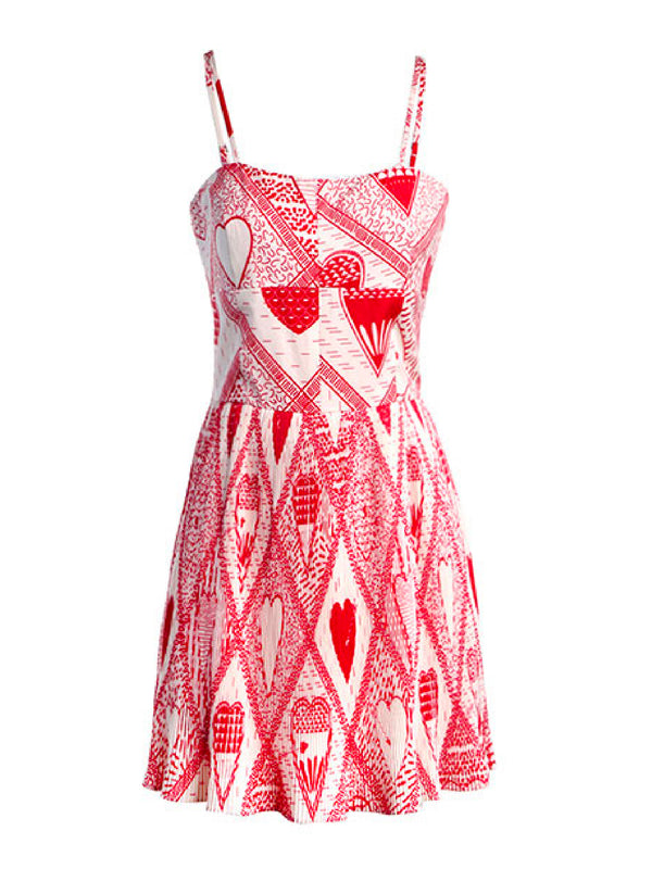 'Yoko' Heart Pattern Pleated Mini Dress