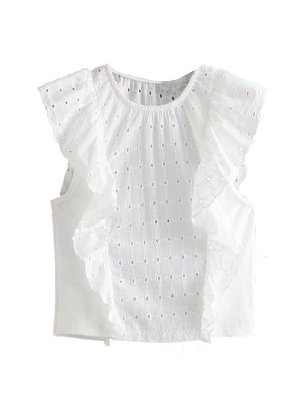 'Fi' Broderie Anglaise Ruffled Top
