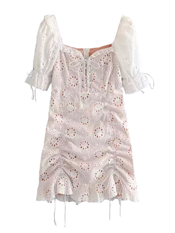 'Keelan' Broderie Anglaise Lace Up Mini Dress