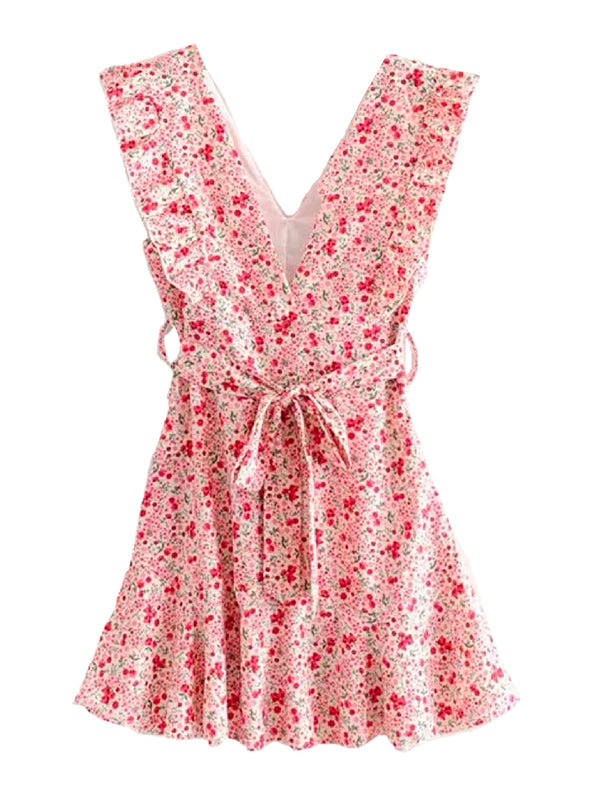 'Jilla' Floral Ruffle Tied Waist Dress