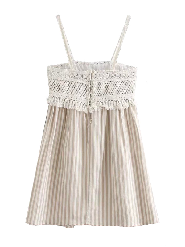 'Kim' Crochet Lace Tassels Striped Dress
