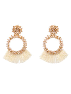 'Carras' Beaded Tassels Drop Earrings (5 Colors)