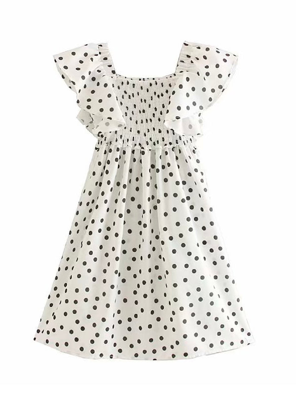 'Lunna' Polka Dot Flutter Sleeve Dress