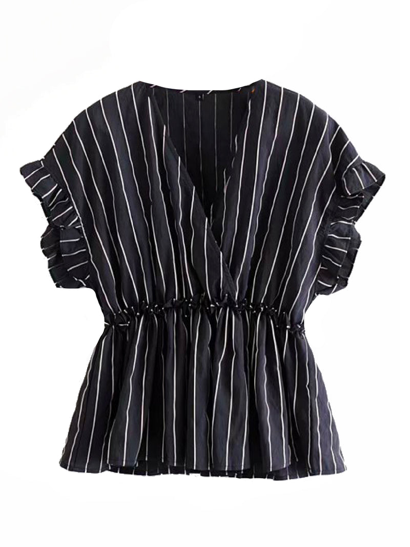 'Dina' Striped Flutter Sleeve Wrap Top (4 Colors)