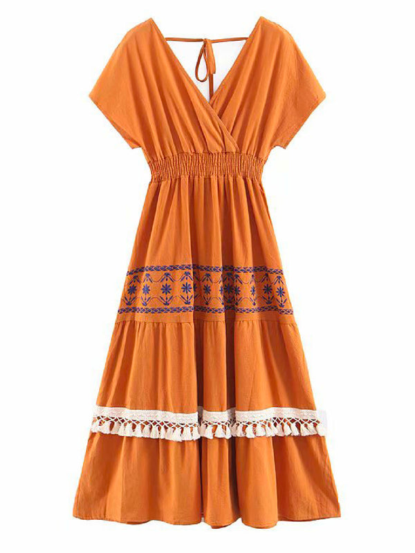 'Ewana' Back Tied Embroidered Tassels Midi Dress (3 Colors)