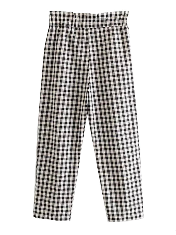 'Sandro' Gingham High Waist Straight Leg Pants