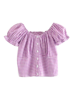 'Engel' Gingham Button Front Top (2 Colors)