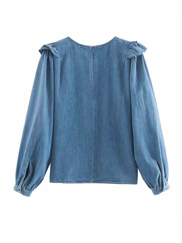 'Angelica' Chambray Ruffled Blouse