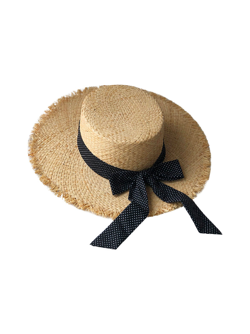 'Ellie' Polka Dot Ribbon Handmade Straw Hat