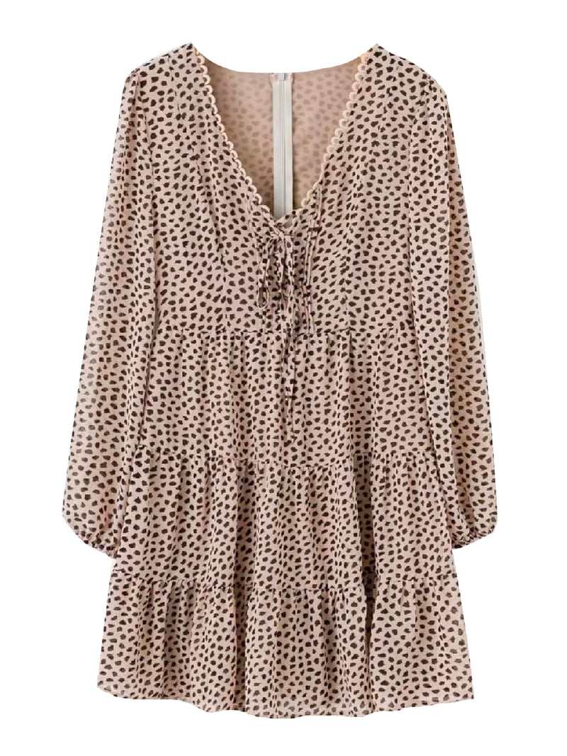 'Eli' Leopard Print Flared Dress