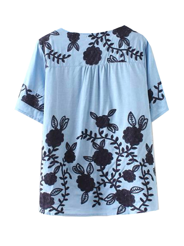 'Rio' Embroidered Linen Top