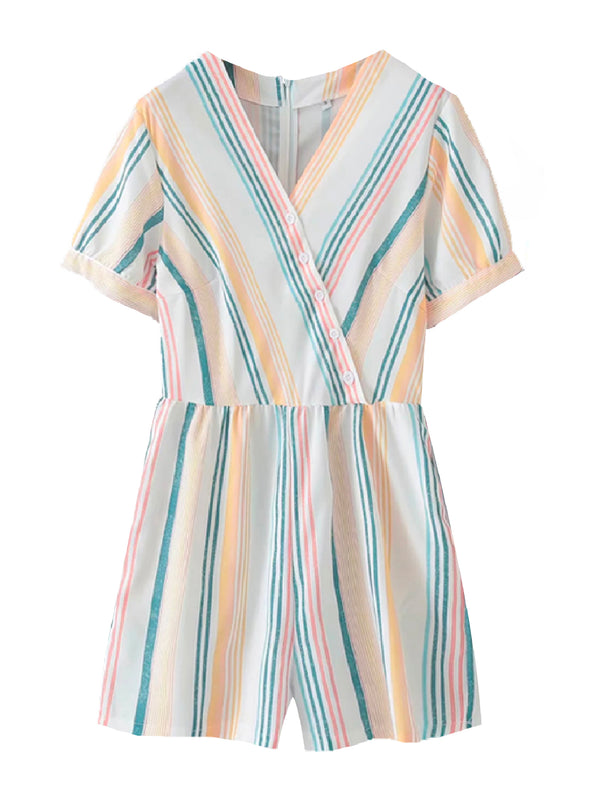 'Kasi' Striped Button Front Romper