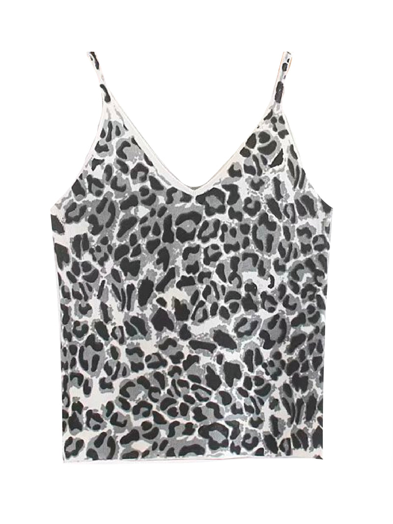 'Inbar' Leopard Print Knitted Strap Top (2 Colors)