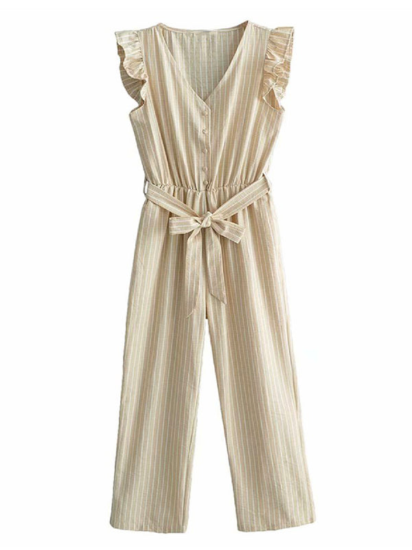 'Ginette' Striped Fluttered Sleeves Jumpsuit (2 Colors)