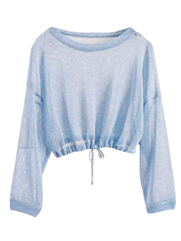 'Laven' Drawstring Sheer Lightweight Sweater (5 Colors)