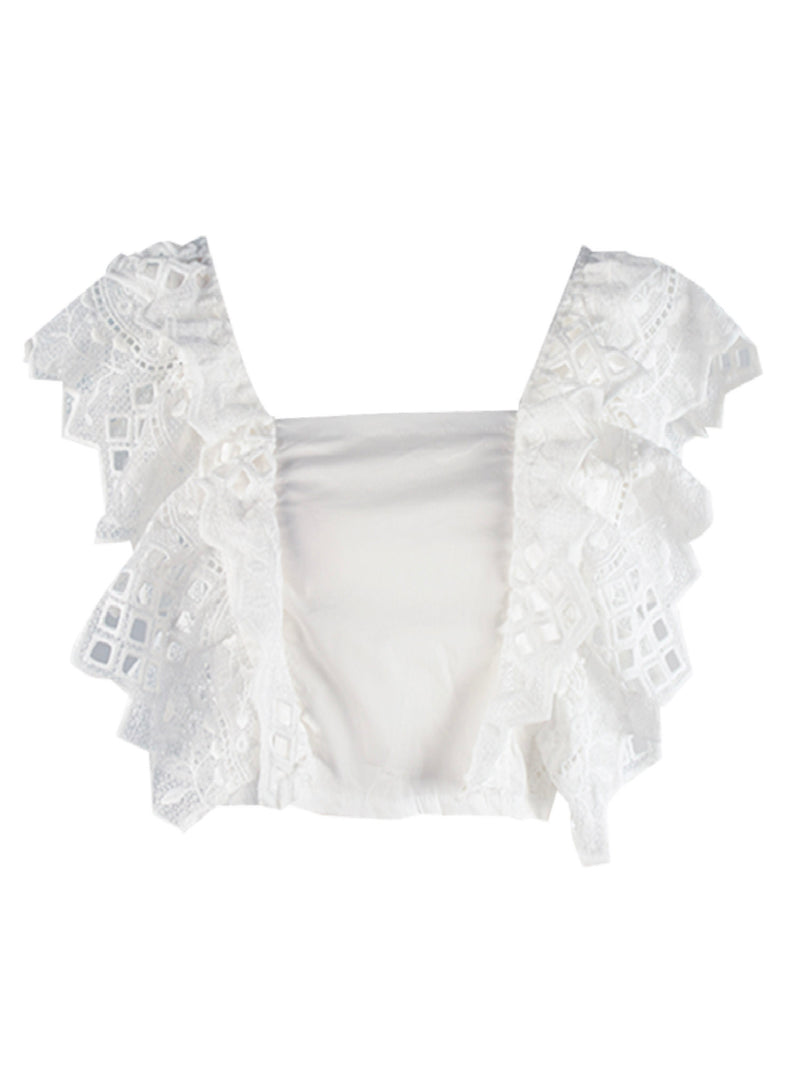 'Tasha' Broderie Anglaise Fluttered Sleeves Crop Top (2 Colors)
