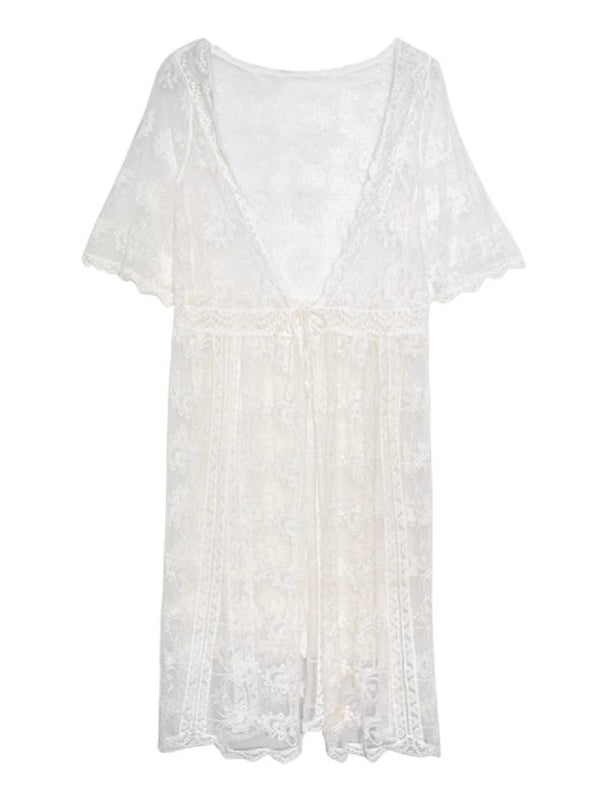'Jane' Crochet Lace Sheer Beach Cover-up