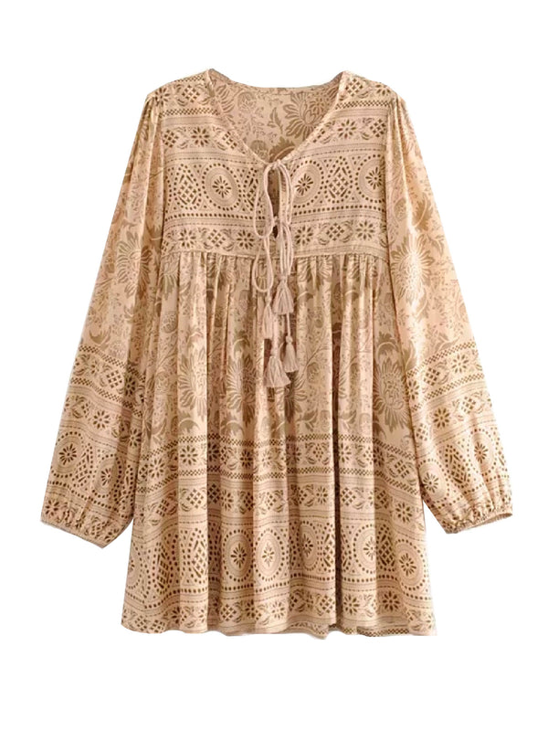 'Joasia' Bohemian Print Mini Dress (2 Colors)
