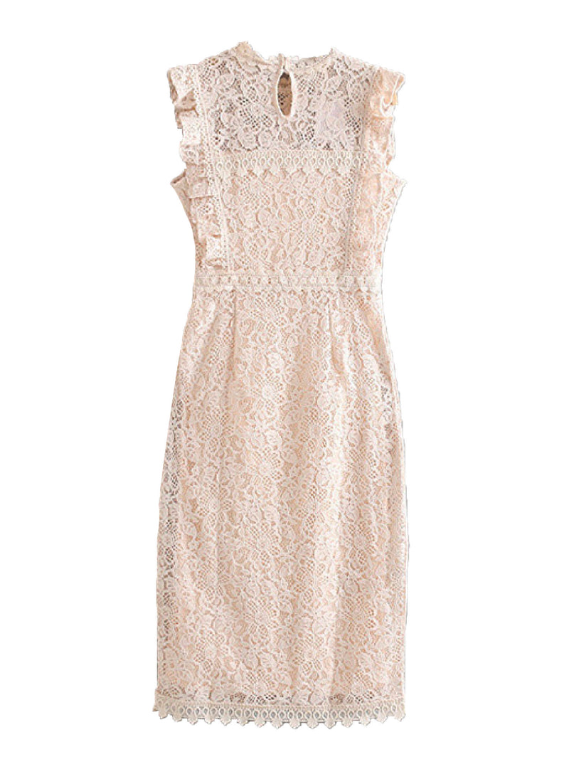 'Petrina' Fluttered Sleeve Lace Midi Dress