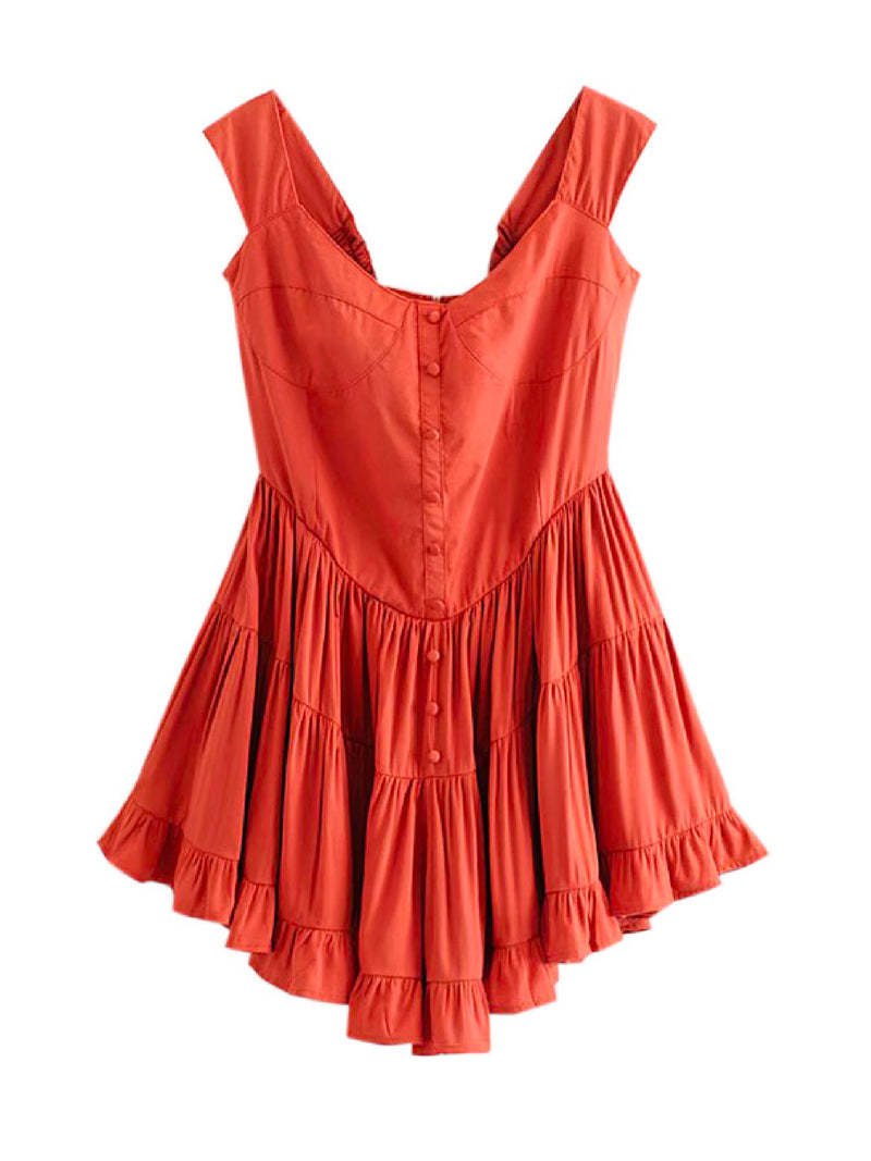 'Swank' Button Front Flared Romper (4 Colors)