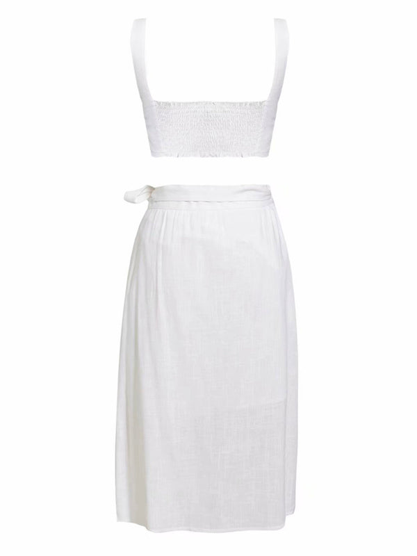 'Elasaid' Linen Crop Top Tied Waist Skirt Co-ord