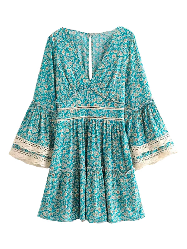 'Maldie' Crochet Trim Floral Dress