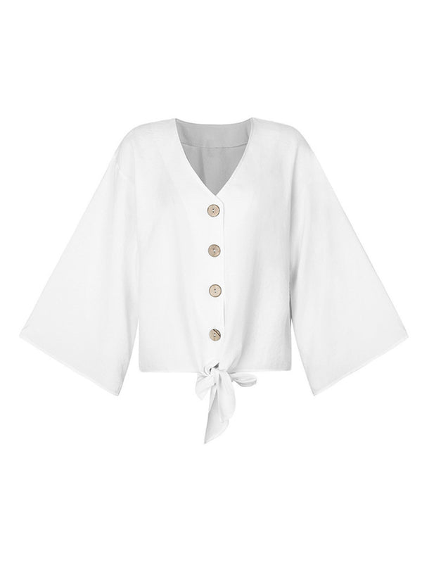 'Zara' Linen Tied Front Button Down Top (5 Colors)