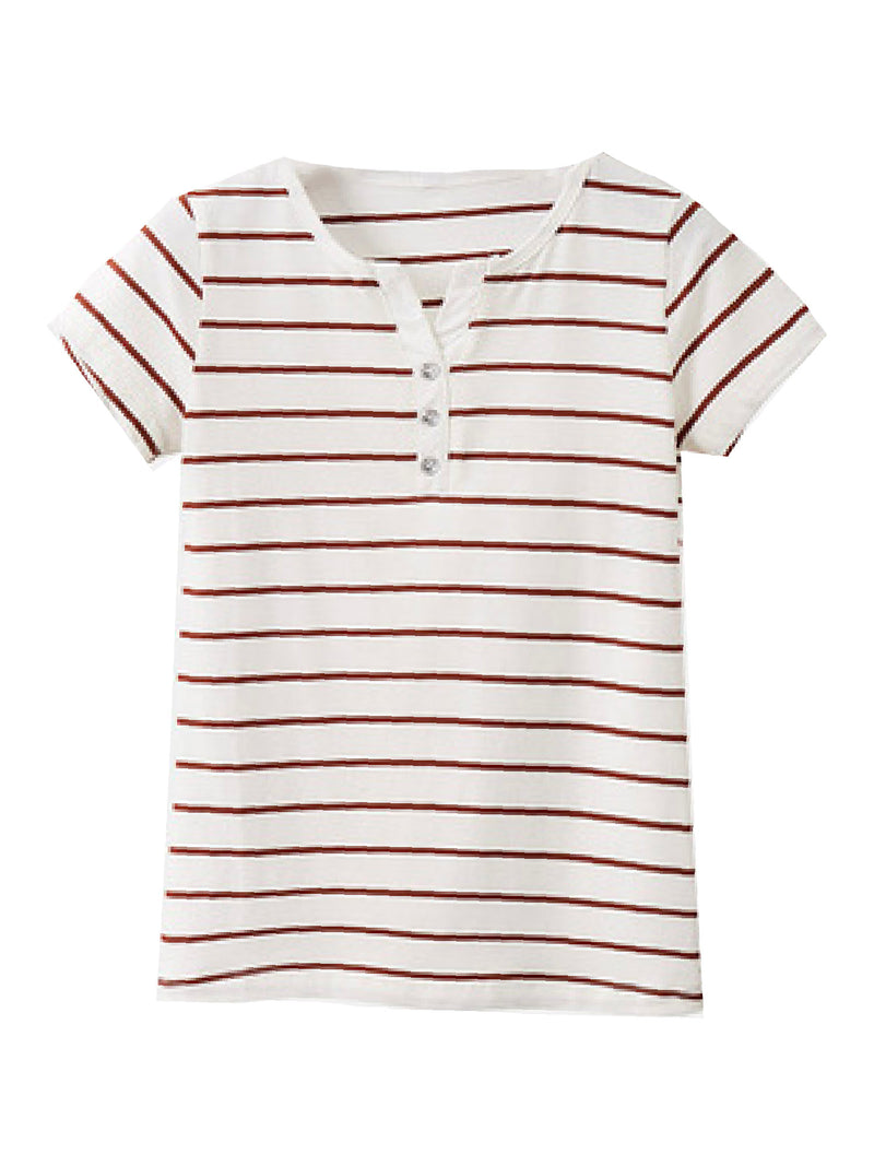 'Jorie' Striped Cotton T-Shirt (5 Colors)