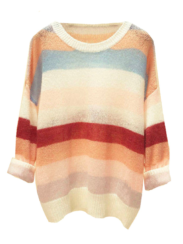 'Hettie' Color Block Mohair Sweater (2 Colors)