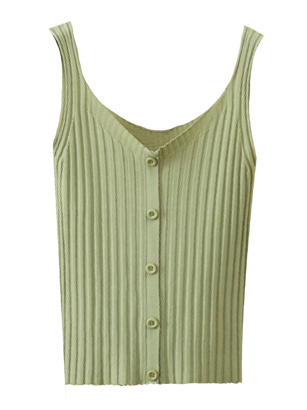 'Jelena' Ribbed Knit Button Front Tank Top (6 Colors)