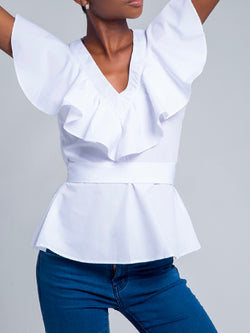 'Kayllis' Ruffle Belted Poplin Top (2 Colors)