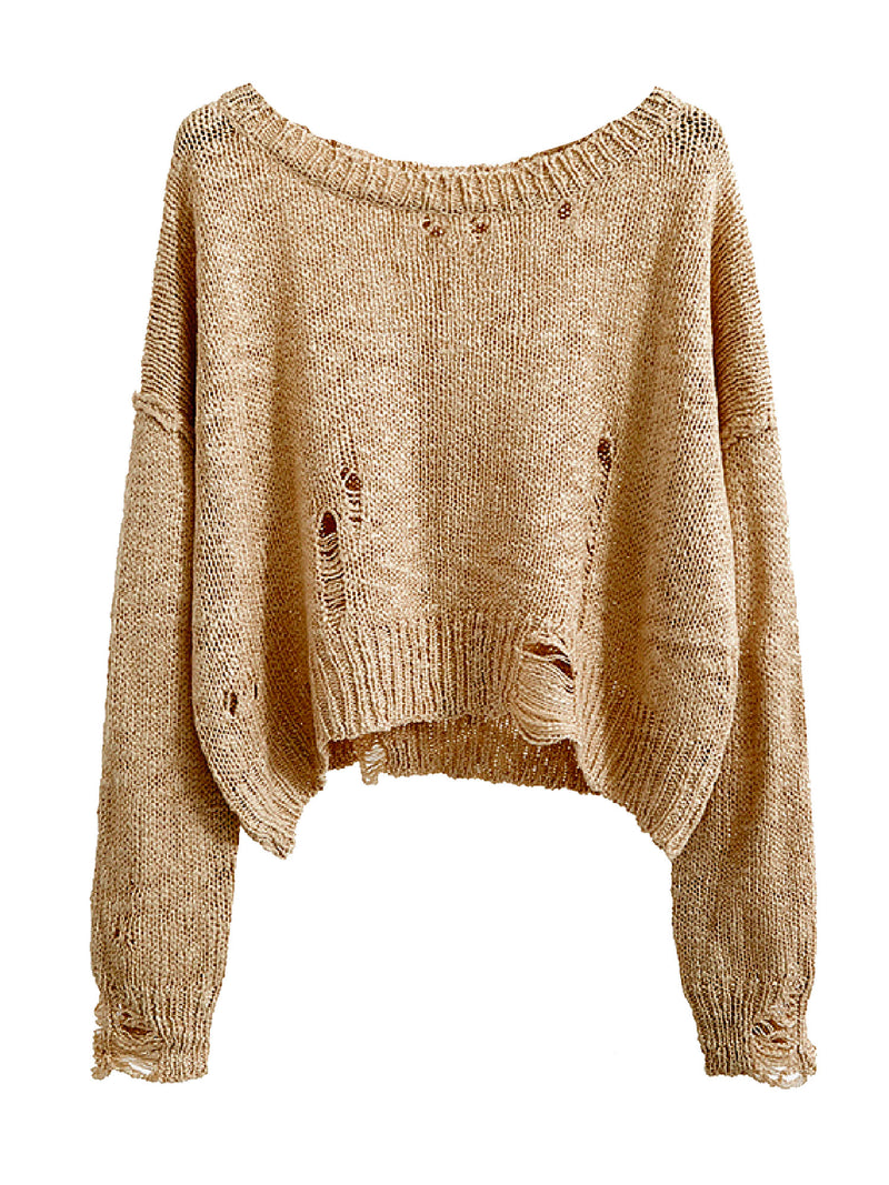 'Normani' Distressed Slouchy Sweater (3 Colors)