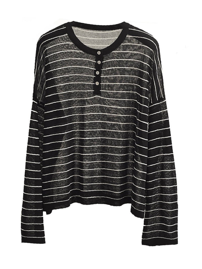'Phoenix' Striped Henley Top (5 Colors)
