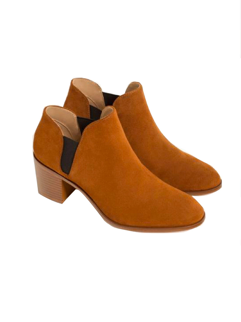 'Nelly' Faux Suede Block Heeled Booties (2 Colors)