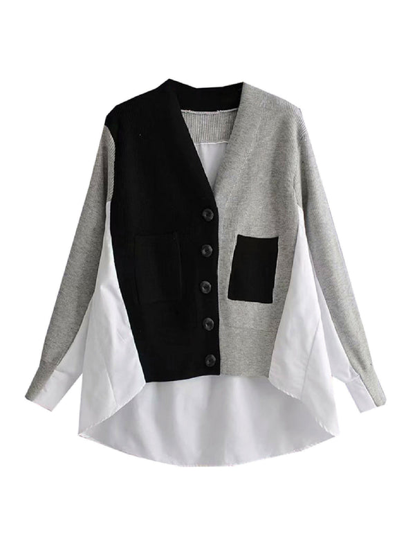 'Lina' Mock Shirt Two-Tone Cardigan