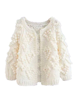 'Kelli' Pom Pom Chunky Knit Open Cardigan (3 Colors)