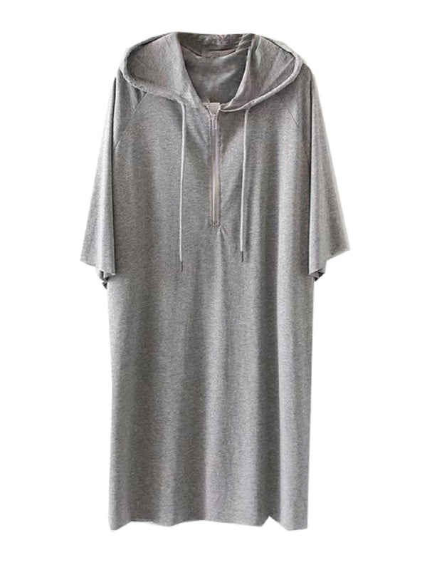 'Carter' Half Zip Hooded Jersey Dress (2 Colors)
