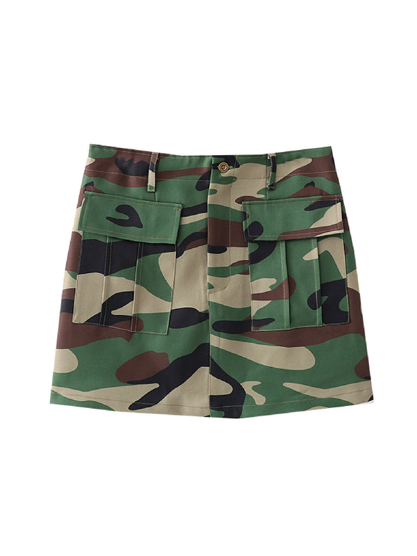 'Charlie' Camouflage Mini Cargo Skirt