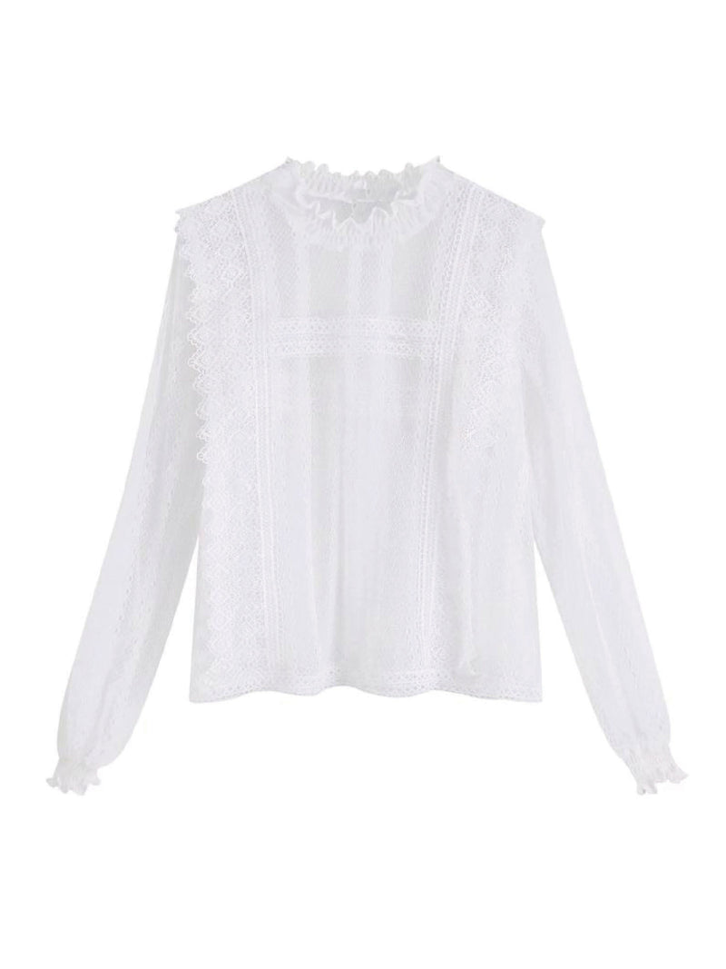'Cult' Lace High Neck Sheer Blouse