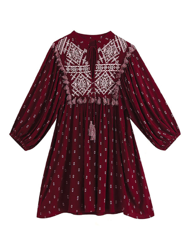 'Zonia' Tassels Embroidered Boho Mini Dress