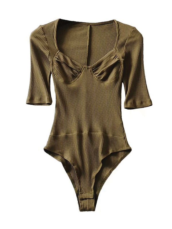 'Emily' Ribbed Knit Bodysuit (5 Colors)