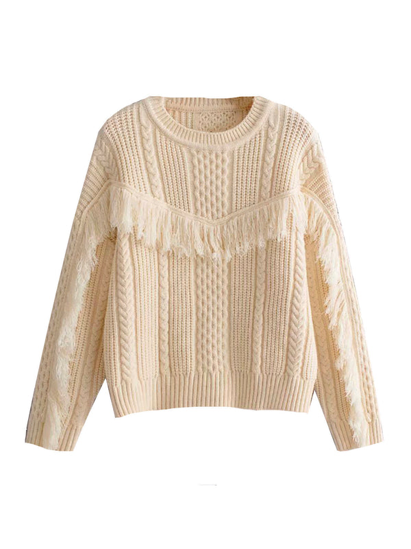 'Ellena' Fringed Cable Knit Sweater (3 Colors)