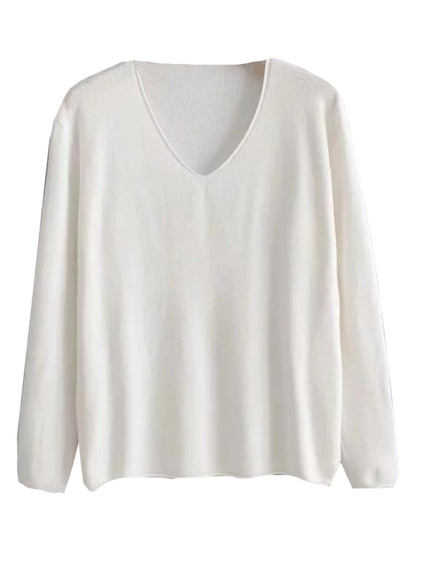 'Shay' Basic V-Neck Lightweight Sweater (5 Colors)