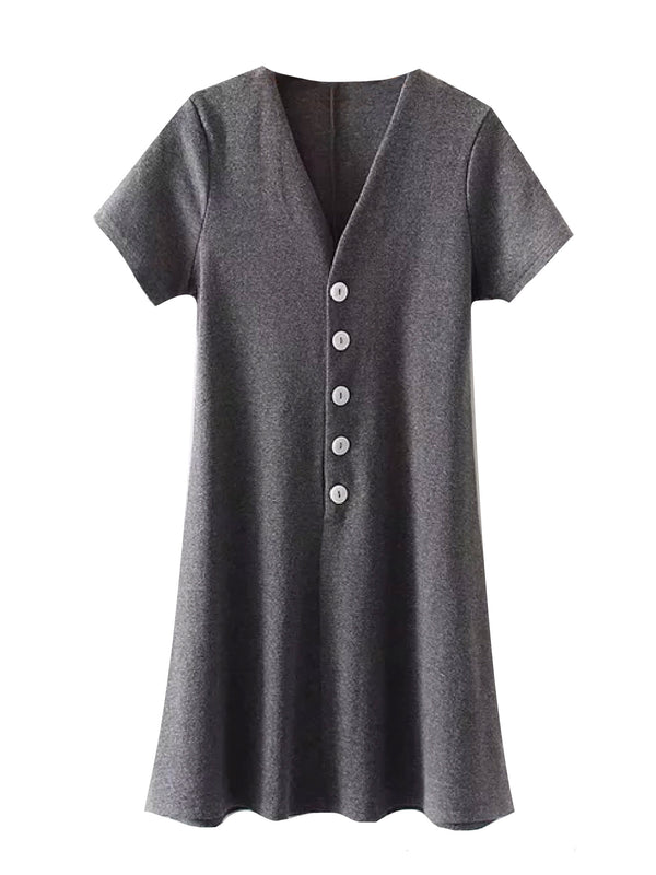 'Kano' Ribbed Knit Button Front Dress (3 Colors)