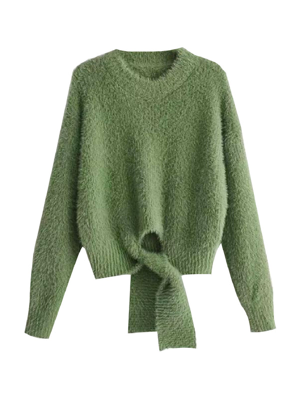 'Benny' Tied Front Mohair Sweater (2 Colors)