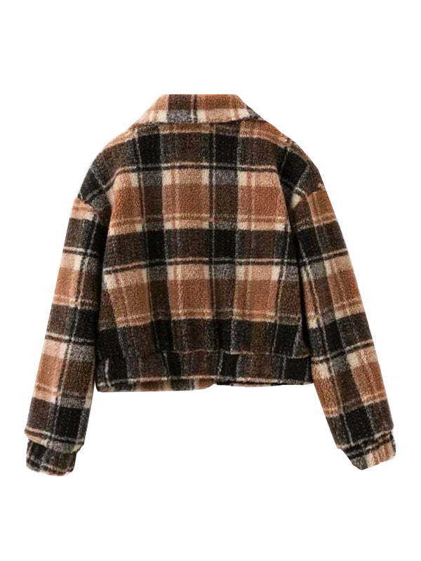 'Tinashe' Checked Crop Fleece Jacket