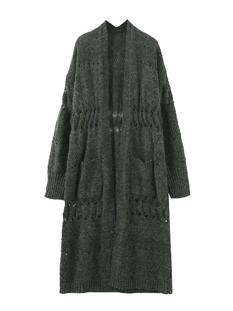 'Mokita' Open Knit Loose Fit Long Cardigan (2 Colors)