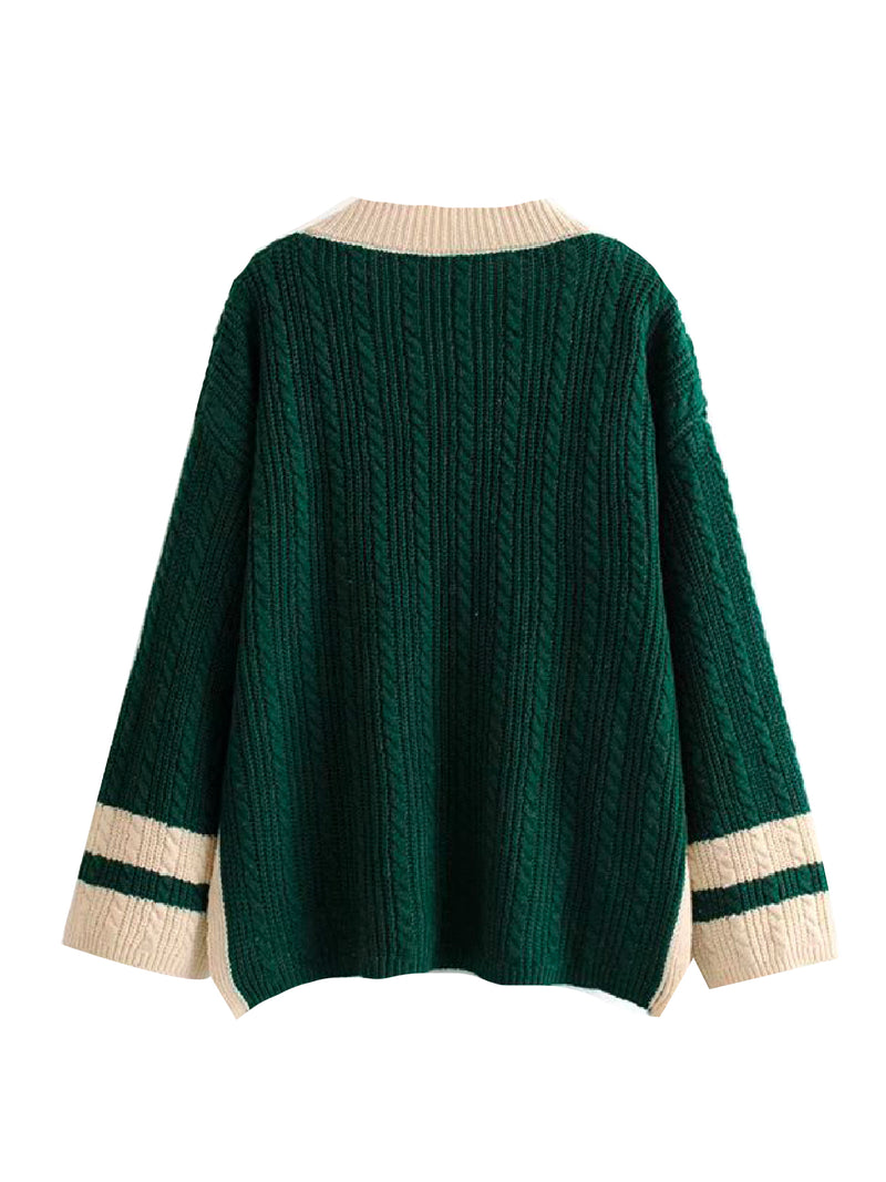 'Oak' Cable Knit Varsity Sweater (2 Colors)